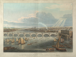 London. In the centre is seen principally Waterloo Bridge and to the right part of Somerset House and the Adelphi